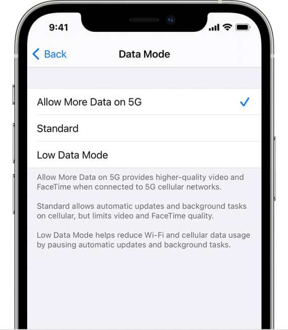 iPhone 12 Allow More Data on 5G