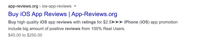 fake review app store