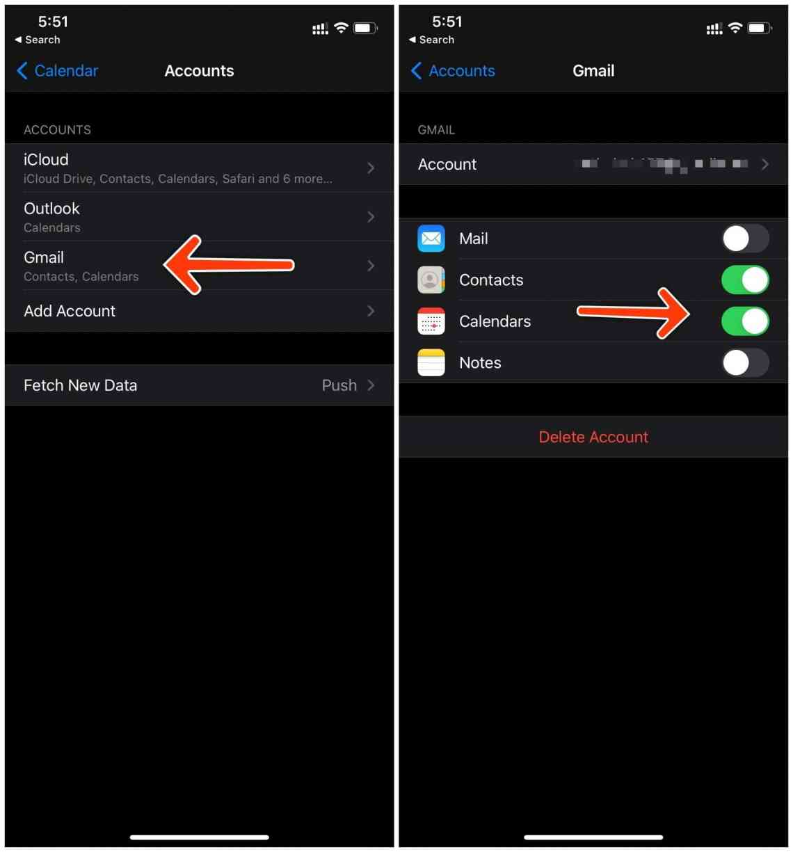 enable google calendar syncing on iPhone