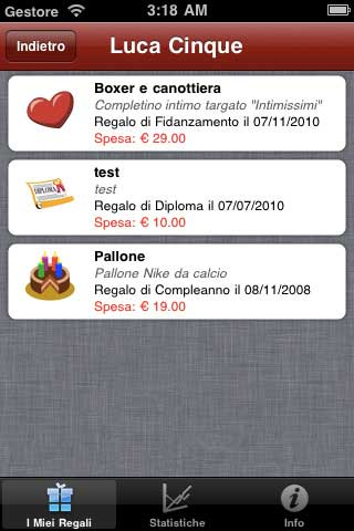 app I Miei Regali iPhone 4