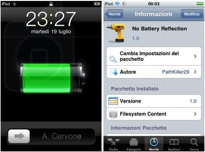 Eliminare riflesso batteria in LockScreen