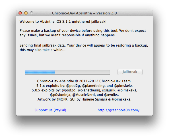 Absinthe 2.0 untethered jailbreak iOS 5.1.1 step 5-3