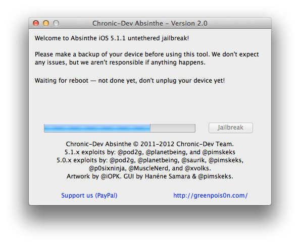 Absinthe 2.0 untethered jailbreak iOS 5.1.1 step 5-4