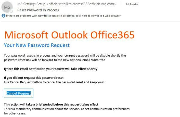 Outlook Scam Email