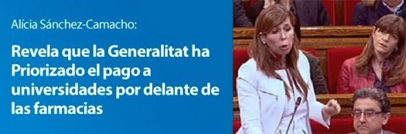 Alicia Sánchez-Camacho, el FLA no ha pagado a las farmacias