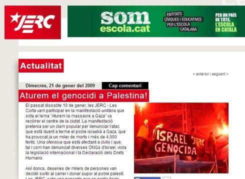 JERC de Convergencia de Artur MAS dice que Israel es un estado genocida
