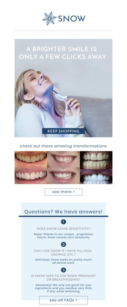 snow teeth whitening Showcase Your Products email