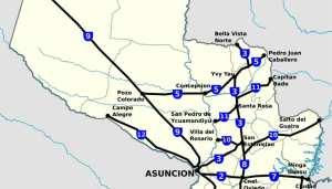 Rutas del paraguay, distancias, mapas de rutas y accesos