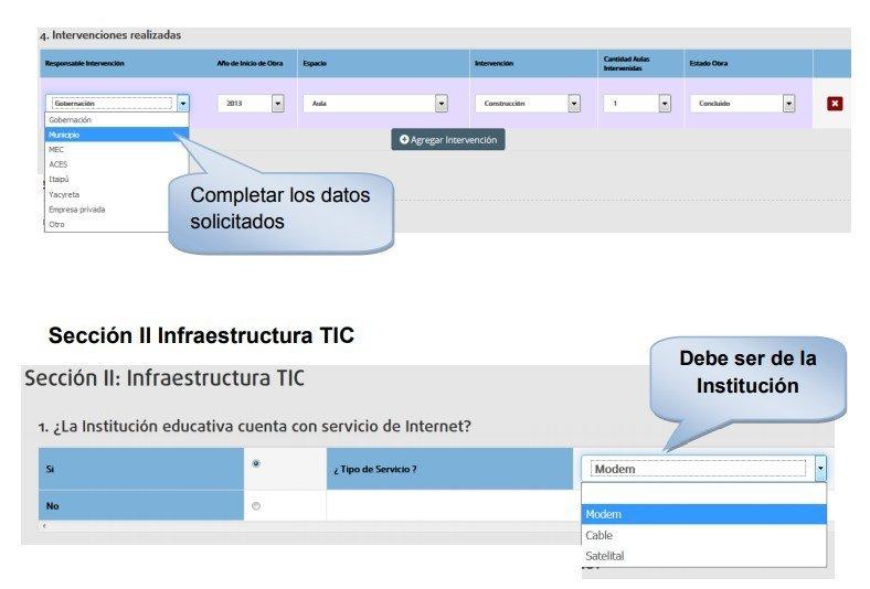 sección infraestructura TIC