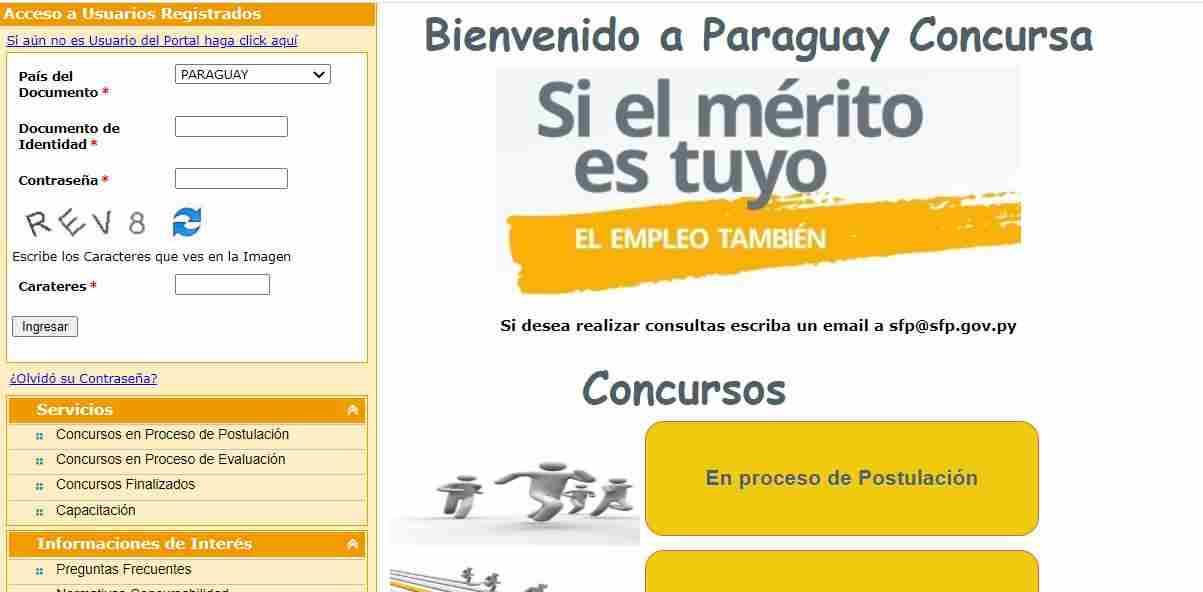 Sicca registro en el portal web concurso postulación