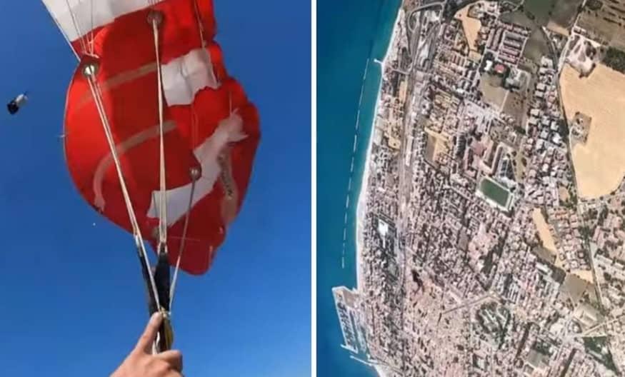 Hombre capta el momento en que su paracaídas se enreda