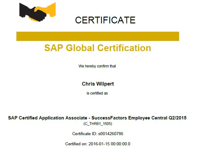 Sap Successfactors Certification And My Ec Delta
