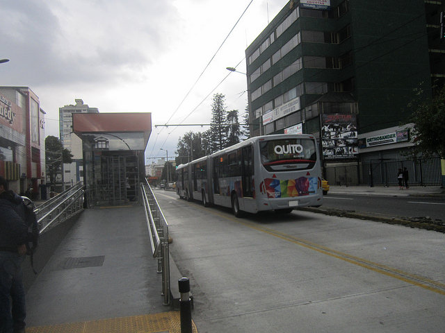 Quito's system of trolleys with a dedicated lane was celebrated for reducing pollution in Ecuador's capital. But the buses driven through overhead electric rails have been replaced by diesel motor vehicles, because they cost less. Credit: Mario Osava/IPS