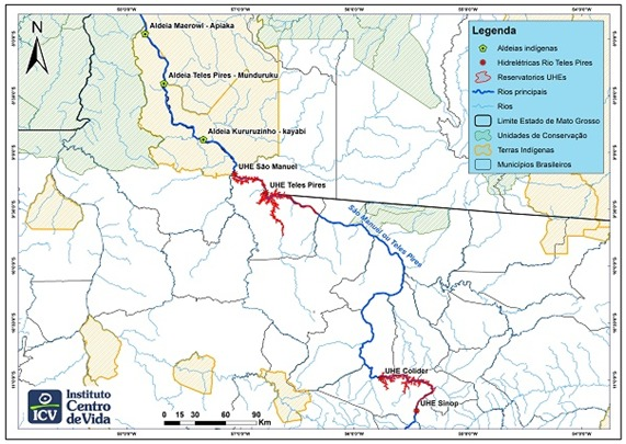 A map of the Teles Pires river, a source of hydroelectric energy in Mato Grosso, in the southeast of the Brazilian Amazon region. In red is the location of hydroelectric power plants that have damaged the way of life of indigenous people and riverbank communities that depend on fishing. Credit: Courtesy of Instituto Ciencia e Vida