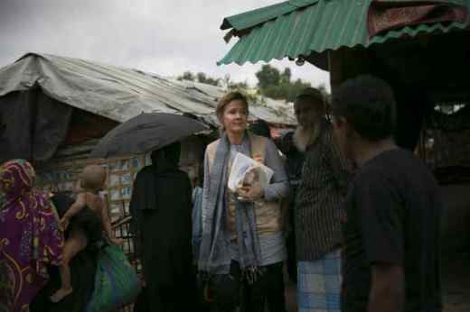 UNFPA Bangladesh Representative Asa Torkelsson surveys monsoon preparedness in the Rohingya refugee camps of Cox's Bazar. (Image: UNFPA Bangladesh/Allison Joyce)