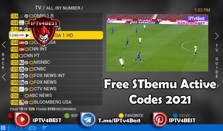 Free Stbemu Active Codes Daily Updated-IPTV4BEST.COM