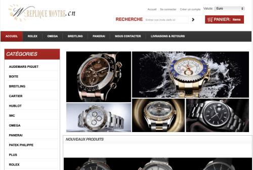 Capture d'écran du site repliquemontre.cn réalisée par Archive.org le 22 janvier 2019.