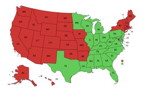 En rouge : 1er, 2e, 8e, 9e, 10e et D.C. (l'intention est requise) / En vert : 3e, 4e, 5e, 6e, 7e et 11e circuits (l'intention n'est pas requise)