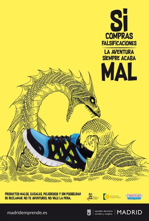 Si compras falsificaciones, la aventura siempre acaba mal (Andema, Oficina Española de Patentes y Marcas, Marathon, Ciudad de Madrid)