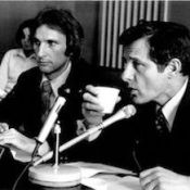 Senator Birch Bayh (right) with staffer Joe Allen (left) circa 1980.