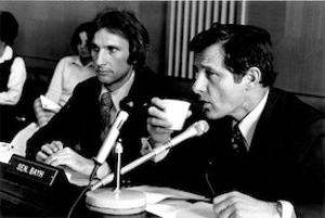 Senator Birch Bayh (right) with staffer Joe Allen (left) circa 1980.