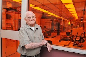 Willis Whitfield, 2008 outside of a clean room at Sandia National Lab's Microsystems Engineering Sciences & Applications complex.