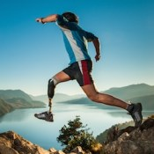 Disabled man with prosthetic leg