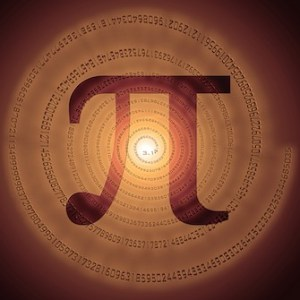 greek letter pi over spiral made of pi figures