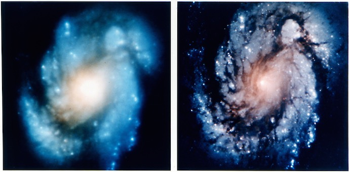 Comparison image of the core of the galaxy M100 shows the dramatic improvement in Hubble Space Telescope's view of the universe after the first Hubble Servicing Mission in December 1993.