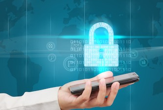 Businessman holding a smartphone and showing concept of online business security.