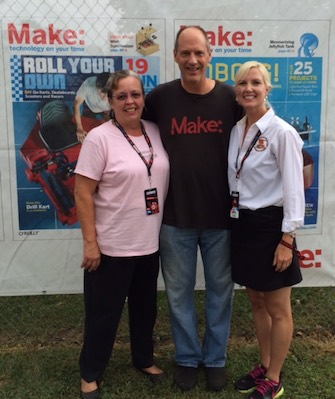 Warren with Cathie and Elizabeth from the USPTO at Maker Faire in Queens, NY, September 2015.