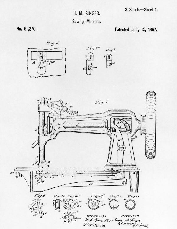 Singer sewing machine U.S. Patent No. 61,270