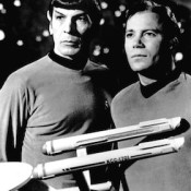 Publicity photo of Leonard Nimoy and William Shatner as Mr. Spock and Captain Kirk from the television program Star Trek.