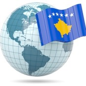 Globe with Kosovo flag