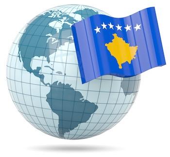 Globe with Kosovo flag