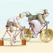 the bike has rich big wheels in the form of currency, the bike has poor brick instead of wheels