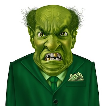 Green patent troll character with a suit and dollar sign on his forehead representing the concept of greed.