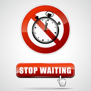 Illustration of stop waiting sign with web button