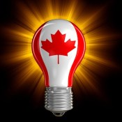 Light bulb with canadian flag