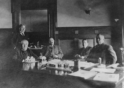 Circa 1908. Arther Williams, Thomas Edison, John Lieb, Nicholas Brady and Thomas Murray in Mr. Murray's office.
