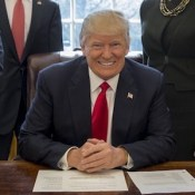 "@POTUS Twitter Picture, February 24, 2017. ""This afternoon I signed an executive order to establish task forces that will help scrap job-killing regulations on American businesses."""