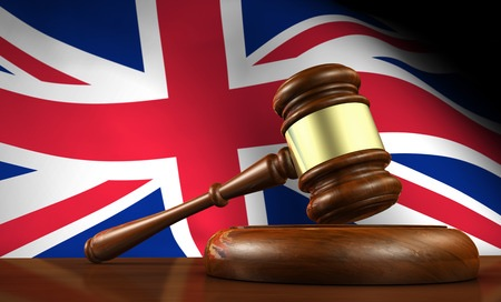 United Kingdom flag with gavel
