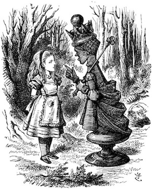 Illustration by John Tenniel of the Red Queen lecturing Alice, circa 1870.