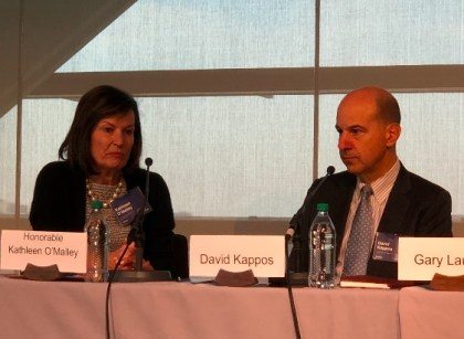 """Judge Kathleen O'Malley (CAFC) and David Kappos, at the Newseum, April 10, 2018. Panel discussion """"The Great Patent Debate Continues"""", with Chief Judge Paul Michel (ret.), Gary Lauder, Jamie Simpson."""