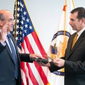 July 30, 2015: Drew Hirshfeld (left) sworn in as new Commissioner for Patents by USPTO Deputy Director Russ Slifer.