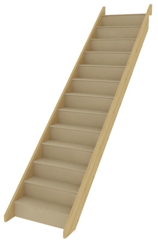 StairBox Straight Flight Staircase Between Wall