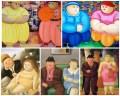 sus; Too Fat People și Too More Fat People- Leger Vilfort, Moba  jos lucrările consacratului Fernando Botero