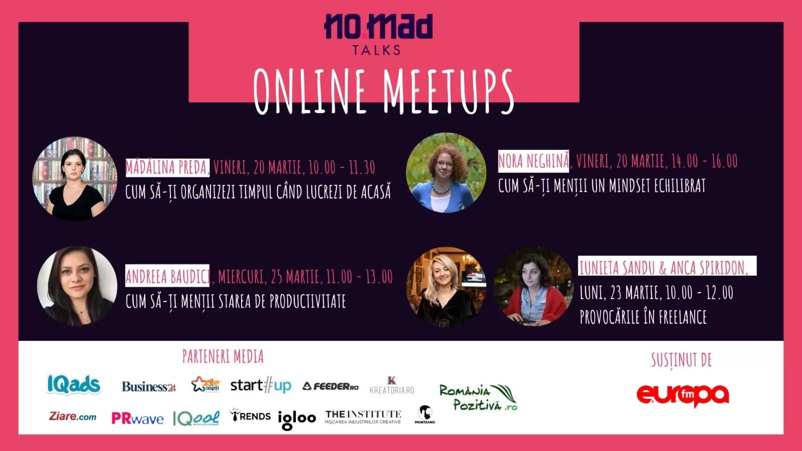 NO.MAD Talks lansează Online Meetups afiș