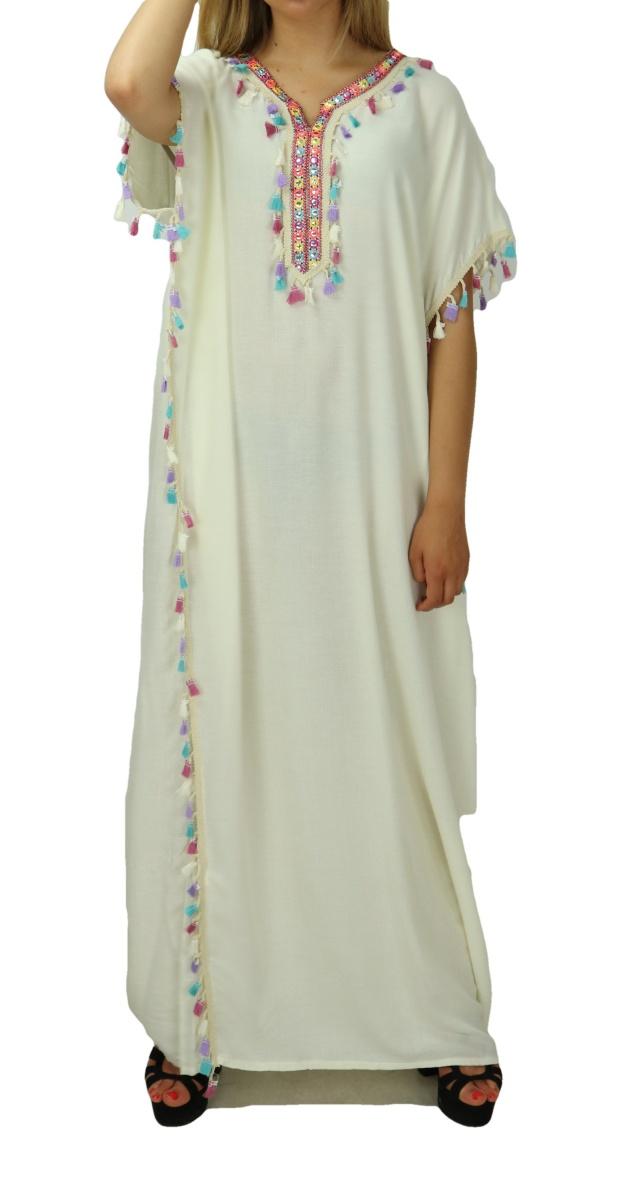 robe orientale avec pompons multicolores vente en ligne robes maison pas cher pour femme couleur blanc casse