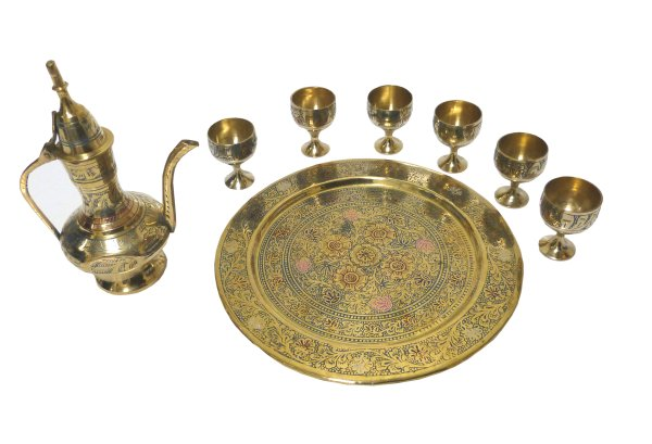 mini service a the artisanal marocain plateau theiere 6 tasses en cuivre delicatement cisele